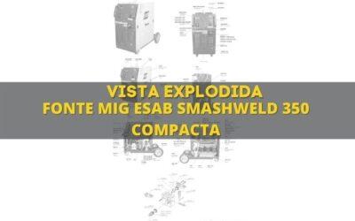 máquina de solda esab smashweld 350 e vista explodida de peças