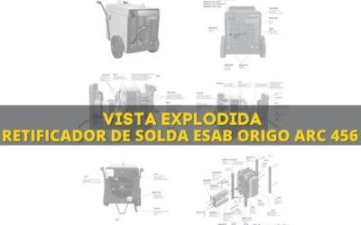 Máquina de solda Esab Origo Arc 456 e vista explodida de peças