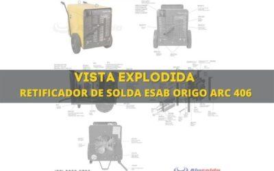 Máquina de solda esab origo arc 406 e vista explodida de peças
